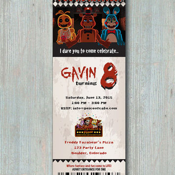 CUSTOMIZED Five Nights At Freddys Ticket Style Invitation