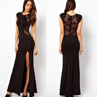 Hot Sale Prom Dress Split Lace Dress Club One Piece Dress [6339032705]