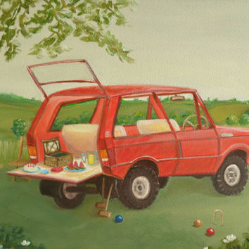 Original Oil Painting, Still Life Painting, Summer Painting, Retro Car Painting, Red Car, Picnic, Range Rover,Countryside,Oil on Canvas,9x12