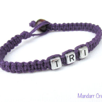 Royal Purple Try Bracelet, Triathlon Race Day Gift, Handmade Hemp Jewelry