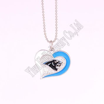 High Quality 5 pcs a lot sporty necklace with Carolina Panthers Logo swirl heart charm heart pendant