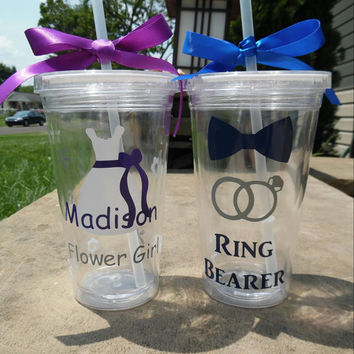 Ring Bearer And Flower Girl Tumbler Set, Ring Bearer Tumbler, Flower Girl Tumbler,  Ring Bearer Cup, Flower Girl Cup, Flower Girl Gift