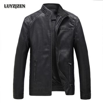 Trendy Autumn Winter Casual Mens PU Jackets New Brand Faux Leather Jacket Men Solid Clothing Fashion Elastic Motorcycle Outerwear 304 AT_94_13