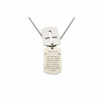 Mens Scripture Double Tag Necklace - John 14:27