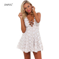 New Sexy Women Summer Dress Sleeveless V neck Hollow out Vintage Lace Mini Dress short Party Dresses Female