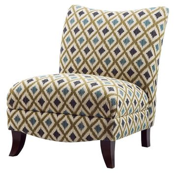 Madison Park Farren Ikat Armless Curved Back Chair (Blue)