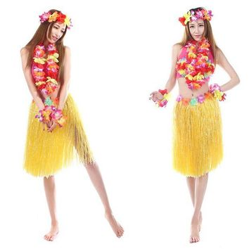 ONETOW 8 Color 5PCS/set Plastic Fibers Women Grass Skirts Hula Skirt Hawaiian costumes 60CM Ladies Dress Up Festive & Party Supplies