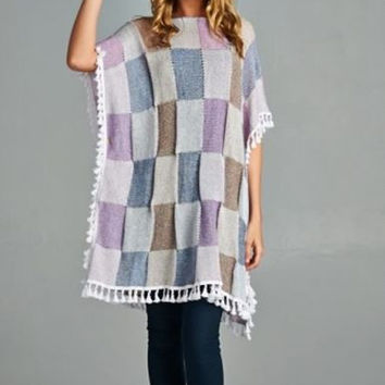 Velzera Bohemian Hippie Chick Checkered Poncho- Off White Multi Check