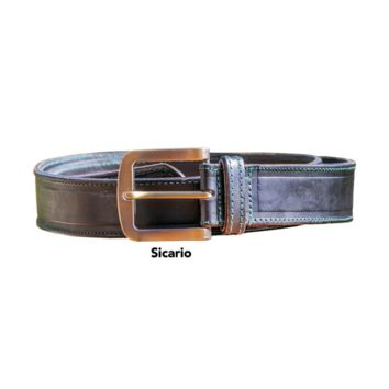osito   leather belt with antique brass buckle
