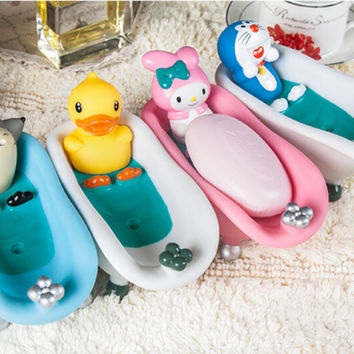 Cute Cartoon Soap Dish Soap Holder Bathroom Set Home Storage Rack