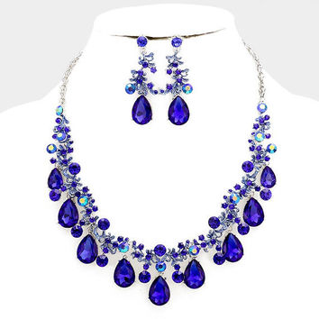 Sapphire wedding jewelry Royal blue crystal jewelry set Bridal jewelry set bib necklace earrings, Chunky rhinestone necklace statement
