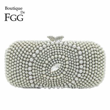 Boutique De FGG Elegant Bling Hollow Out Crystal Clutch Evening Bags Women Silver Beaded Minaudiere Handbag Wedding Party Purse