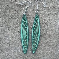 Paper Quilled Earrings Long Pointed - Shades of Green - quilling paper jewelry, paper earrings, long earrings, green earrings, eco friendly