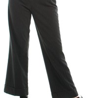 Vintage Y2K First Option Pin-Striped Trousers - L