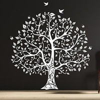 Gorgeous Leaved Bird and Butterfly Tree, Single Color Vinyl Wall Decal Sticker