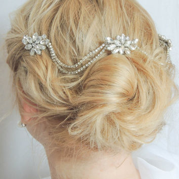 Wedding Hair Accessories/ Art Deco Headpiece/ Rhinestone piece/ Hair Chain/  Chain Headpiece/ 1920s style hair vine
