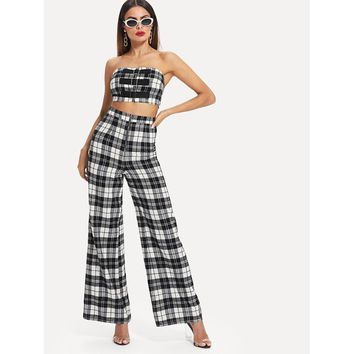 Black And White Buckle Zipper Front Bandeau Flare Hem Pants Co Ord