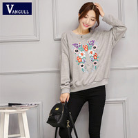 Women Chinese Vintage Loose Casual Sweatshirt 2016 New Hot Sell Spring and Autumn Slim Embroidery Short Pullover Fashion