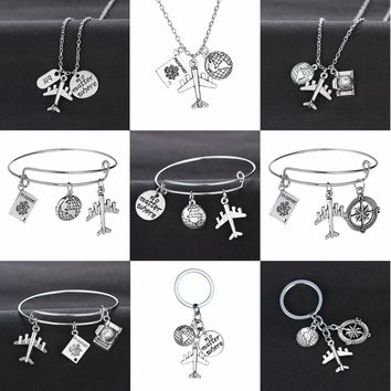 Travelling The World Camera Compass Charm Pendant Best Friends Travelers Wanderlust Necklace Bracelet Love Travel Keychain Gifts