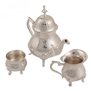 Antique Silver Plated Brass Kettle Cup Tea Pot Set