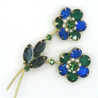 Vintage Juliana D&E Green and Blue Rhinestone Double Flower Brooch Pin