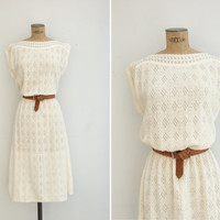 1970s Dress - Vintage 70s Cream Knit Dress - Menorca Nights Dress
