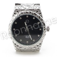 Men Iced Out Bling 14K White Gold Plated Hip Hop Nuggets Black Face Watch F20GS