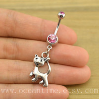 Cat Belly Button jewelry,cat Navel Jewelry,lucky belly button ring,friendship gift,cat belly button jewelry