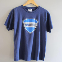 Nike Tee Made in USA Blue Cotton Soccer Soft Tee Vintage 80s Size M #T193A