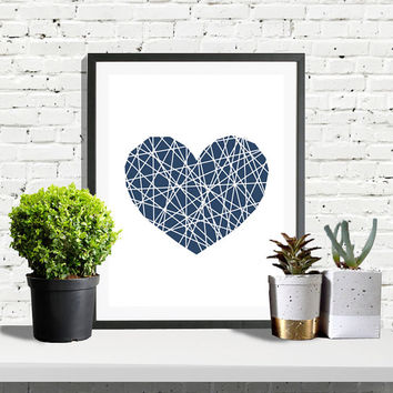 Heart Print, Geometric Print, Modern Minimalist, Navy Poster, Heart Art, Love Print, Navy Decor, Modern Poster, Printable Wall Art