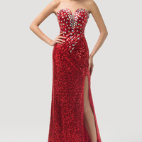Red  Deep V-Neck Beaded Sequins Slit Maxi Evening Dress