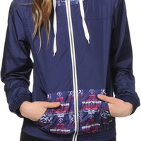 Empyre Bowery Navy & Tribal Print Windbreaker Jacket