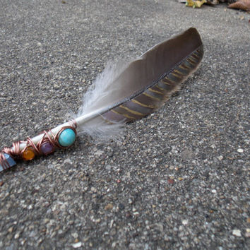 Metaphysical Spiritual Energy Cleansing Smudging Feather with Turquoise Japser, Amethyst, Orange Quartzite & Tanzan Aura Quartz Crystal