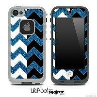 Blue Sparkle Print & Black/White Chevron Pattern Skin for the iPhone 5 or 4/4s LifeProof Case