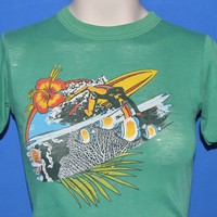 80s Surfer Hibiscus Flower Distressed t-shirt Youth Medium