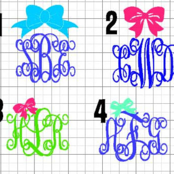 Bow Vinyl Vine Monogram Custom Initials Car Decal Monogram Sticker Laptop Decal Laptop Monogram iphone monogram label