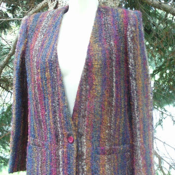 ON SALE 70s 80s Multi Color Stripe Boxy Boucle Wool Cardigan Versatile Fall Colors Fuzzy Knit Mohair Jacket