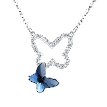 "925 Sterling Silver CZ ""Butterfly Love"" Hollow Made with Swarovski Crystals Pendant Necklace"