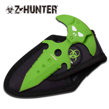 Z-HUNTER 5 INCH GREEN FIXED BLADE PUSH DAGGER KNIFE