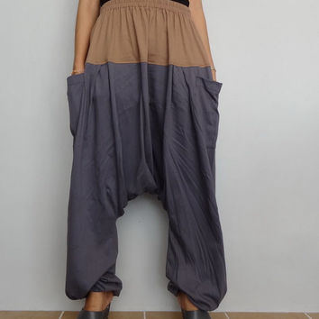 Gray&Khaki Drop crotch long trouser,Unisex harem Baggy pants, unique cotton blend (Drop pants-27).