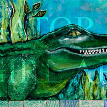 Lousiana Alligator 11x14 Art Print-- Alligator Bliss
