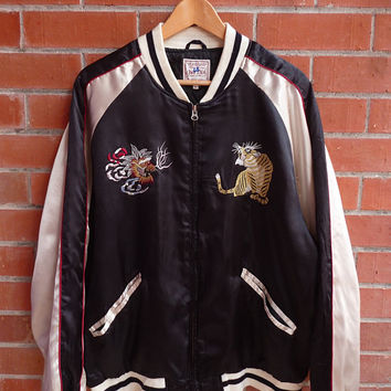 Rare Vintage Japan Tiger Roar Dragon Yokosuka Black Satin Sukajan Embroidery Japanese Souvenir Bomber Jacket