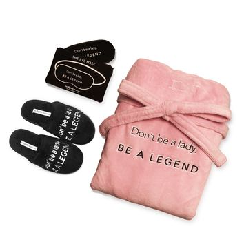 Gift Set- Be A Legend Robe, Slipper and Eye Mask Set in Pink