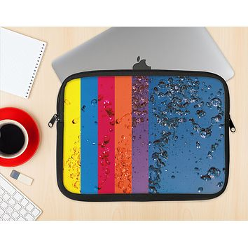 The Rainbow Colored Water Stripes Ink-Fuzed NeoPrene MacBook Laptop Sleeve