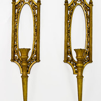 Vintage 1950s Syroco Gold  Wall Decor Candleholders Sconces - Hollywood Regency  / Rococo Style