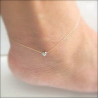 Tiny Heart Anklet - A Little Love - Ankle Bracelet version