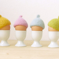 FREE SHIPPING - Egg cosies for Easter - spring pastel colors - felted acorn cap - Set of four - Cozy gift - table decor
