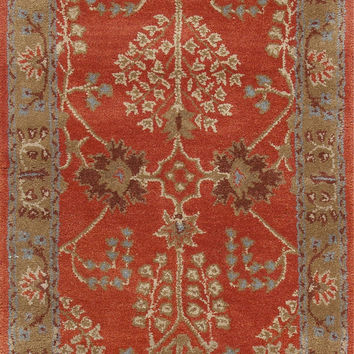 Jaipur Rugs Classic Arts And Crafts Pattern Orange/Brown Wool Area Rug PM51 (Runner)