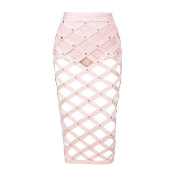 Studded Cut Out Knee Length Skirt