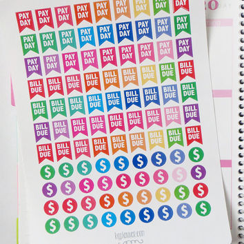 Bill Due/Pay Day/Money Rainbow Stickers for Erin Condren Planner, Filofax, Plum Paper